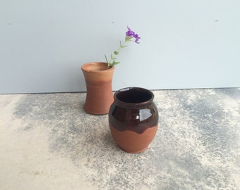 Small Dark Brown Ceramic Vase, handmade pottery vase