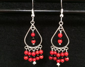 Stunning Red Coral Gemstones and Sterling Silver Chandelier Earrings