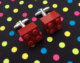 Dark Red Brick Cufflinks...Handmade using LEGO® parts