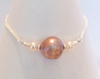 Hand Made Kasumi Type Golden Ripple Pearl Bracelet
