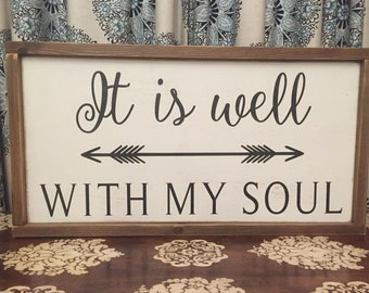 "25.5""x13.5"" It is Well with My Soul/wood sign/word art/distressed sign/wall décor/rustic"