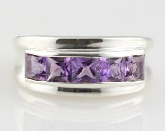 Sterling Silver Amethyst Channel Set Ring