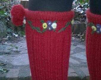Hand, pure Virgin wool knitted socks