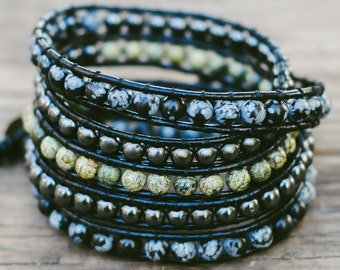 Leather Wrap Bracelet, Multi Wrap Leather Bracelet, Wrap Beaded Bracelet, Jasper Wrap Bracelet, Hematite, Obsidian, Serpentine, Gift for Her