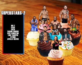 Cupcake Toppers, WWE Cupcake Toppers, Wrestling, WWE, Wrestling Cupcake Toppers, Printable, Digital, WWE Superstars, Enzo, Cass, Rhyno