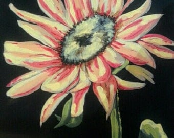 Acrylic Painting of Sunflower on Black Canvas