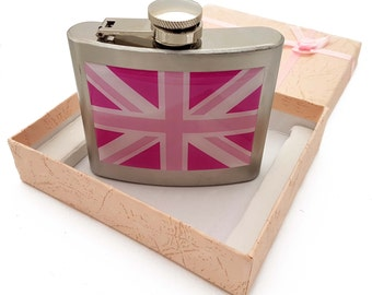United Kingdom Union Jack Hip Flask in Stainless Steel with Pink Shades Flag