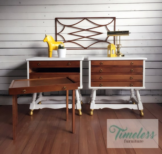 Mid century transforming end table set