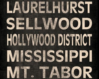 """Portland Neighborhood Typography Canvas Panel; One 8x20"""" Hand-Stretched Canvas"""