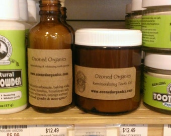 2oz Organic Tooth Care Set - Toothpowder & Ozonated Tooth Oil - Remineralizing and Whitening OZONE