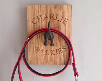 Dog Lead Hook - solid oak - Personalisable