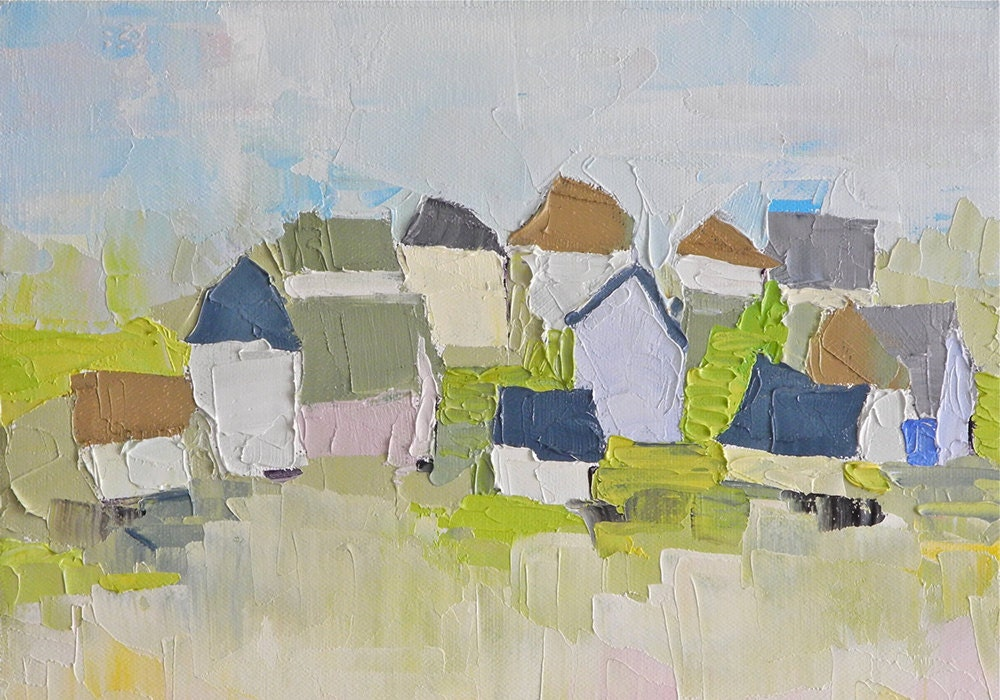 Community houses oil painting by DonnaWalker on Etsy