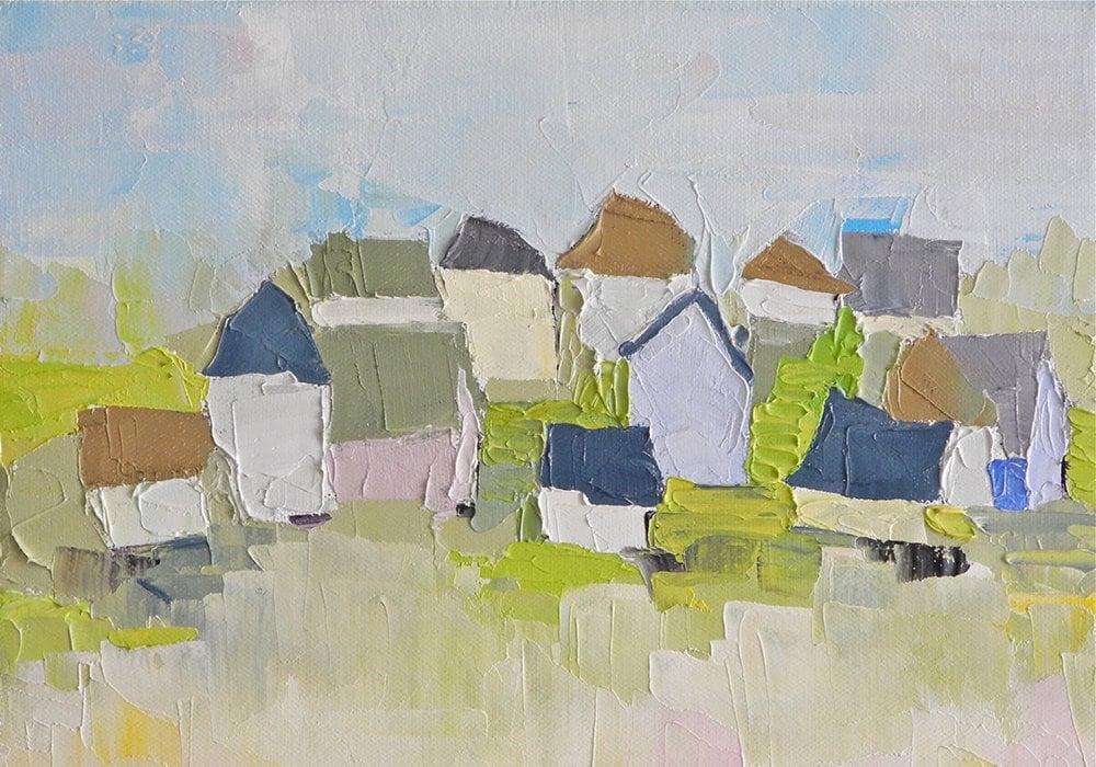 Case del quartiere - Dipinto ad olio di DonnaWalker su Etsy