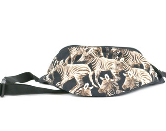 Fanny pack Zebra fabric - Cute  - Hip Waist Bag for travel, sport, and hiking with 2-zippered compartments