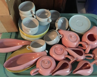 Rare 62 Pieces of Vintage Russel Wright Toy Dishes Made by Ideal Toy Company 1950 Era