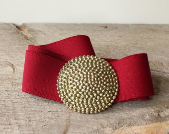 """burgundy red elastic stretch belt . womens wide cinch belt with large gold tone round buckle . 29"""" to about 37"""""""