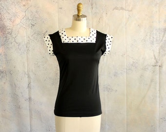 vintage fitted black top with square neck polka dot border cap sleeves, womens size xs small . poly t-shirt by Joanna