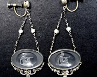 Beautiful Lalique Style Back Carved Frosted Glass Chandelier 1920's Earrings