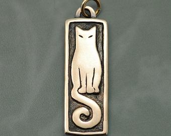 Spiral Tail Cat - Artisan Bronze Pendant by Virginia Miska