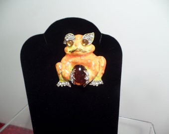 Fun Frog Brooch Signed ART-1960's
