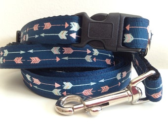 5/8 inch Arrow Dog Leash and Collar Set  in Navy Blue or Mint Green