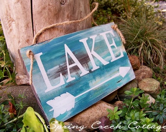 Uniquely Handpainted Signs, Lake House Decor, Wood Sign, Lodge Decor, Hand-painted, Cabin Sign, Signs With Arrows, Rustic Signs