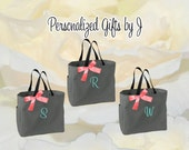 7 Personalized Bridesmaid Gift Tote Bags Monogrammed Tote, Bridesmaids Totes, Personalized Tote, Wedding Tote Bag, Maid of Honor Gift