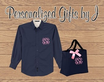 5 Sets, Personalized Bridesmaid Gift- Over Sized Shirt and Tote Bag Set- Bridesmaid Gift- Personalized Oxford Shirt and Monogrammed Bag Set