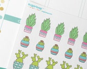 25, cute, plant, garden, planner stickers, cacti, cactus, succulent, water plants, plant stickers, watering, reminders, task sticker, to do