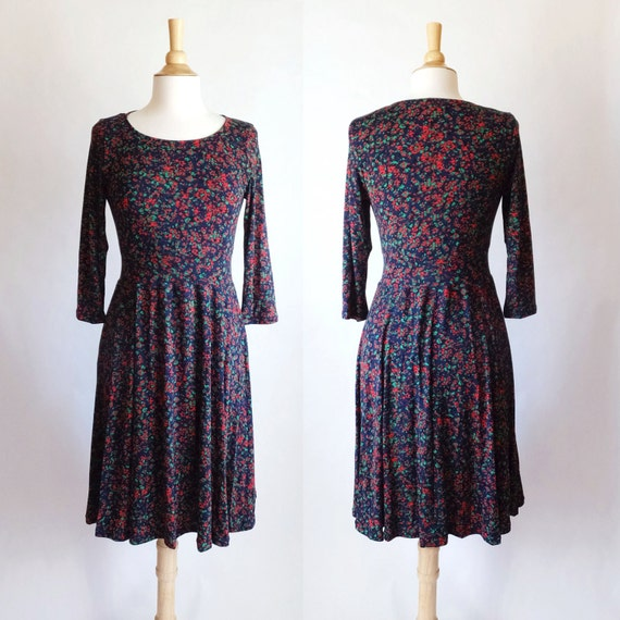 SALE size SMALL Navy blue dress women's long sleeve abstract Print Scoop neck Fit and Flare confetti print 3/4 Sleeve Full Skirt Dress