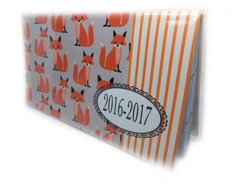2016 - 2017  mini Planner - Sweet Foxes - cute fox print pocket planner - two year planner - woodland 2 year monthly planner horizontal