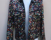 Vintage Black Colorful SEQUIN Glitter Iridescent Jacket // Oversize Top // Sz Med
