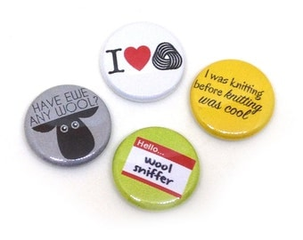 Knitter Theme Buttons, 1 inch pin back, Knitting is Cool, Set of 4