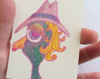 Original ACEO Collectible Card - Colored Pencil Sketch Duck Drawing - Duck Wearing a Hat