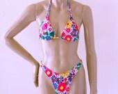 80s High Leg Brazilian Bikini Bottom and Triangle Top in Posies Floral Print