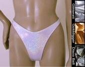 80s High Leg Thong Bikini Bottom in Silver, Gold, and Disco Ball Glitter Hologram