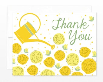 Floral Garden Thank You Card - Yellow Flowers Thanks Greeting Card - gardening card, wedding thank you cards, shower thank you cards