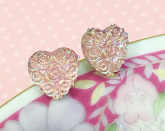 Pink Rose Studs, Pink Heart Studs, Iridescent Heart Stud, Pretty Floral Studs, Stainless Steel Studs, Wedding Earrings (SE4) SALE