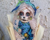 Dia de los Muertos, Sugar Skull, Kitchen spirit, OOAK Assenblage Art Doll, Unique Kitchen Decor