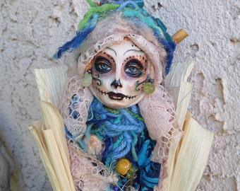 Dia de los Muertos, Sugar Skull, Kitchen spirit, OOAK Assenblage Art Doll, Unique Kitchen Decor