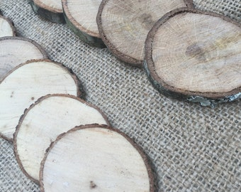 "Oak Natural Wood Slices Small Rustic Supplies 20 Pieces 1/4"" Thick"