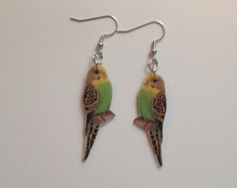Handcrafted Plastic Yellow Green Parakeet Budgerigar Earrings Made in USA