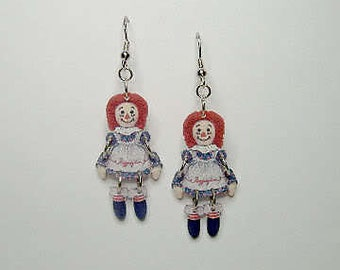 Handcrafted Plastic Jointed Raggedy Ann Earrings