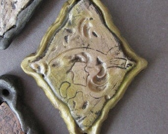 Pendant-Arabesque Tile Polymer Clay Peridot Olive Green Antiqued Gold Pearlescent Texture Michele Gabriel Studio