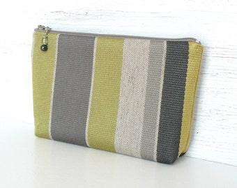 Large Zipper Pouch, Stripe Cosmetic Case, Fabric Makeup Bag - Olivette in Gray and Spring Green