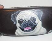 Fawn Pug Dog  Hand Painted Eyeglass Case Faux Leather
