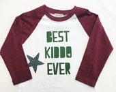 "Boys Raglan Sleeved Shirt with ""Best Kiddo Ever&qu..."