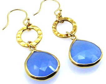 Chalcedony Earrings, Blue Earrings, Blue Dangle Earrngs, Blue Drop Earrings, Blue Teardrops, Blue Stone Earrings, Chalcedony Teardrops