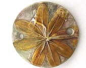 Handmade Round Ceramic Bracelet Bar Leaves of a Wild Weed by Mary Harding