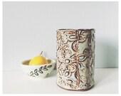 Utensil holder vase - blue pottery utensil crock - ceramic utensil caddy - ceramic kitchen utensil holder - spoon holder